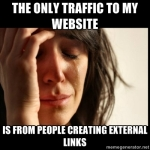 The only traffic to my website is from people creating external links